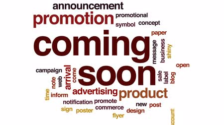soon : Coming soon animated word cloud, text design animation. Stock Footage