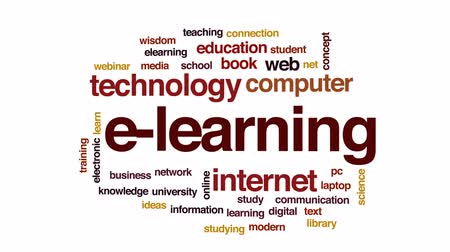 e learning : E-learning animated word cloud, text design animation.