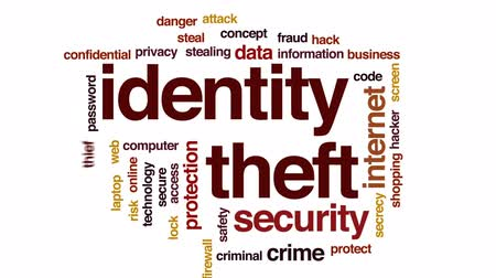 senha : Identity theft animated word cloud, text design animation.