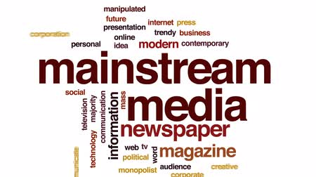 haber : Mainstream media animated word cloud, text design animation. Stok Video