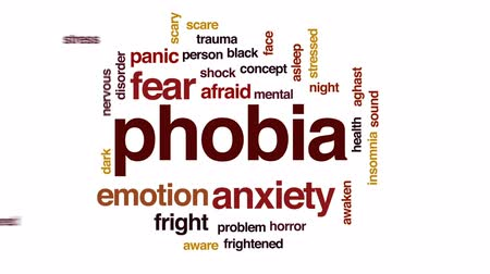 preocupar se : Phobia animated word cloud, text design animation.