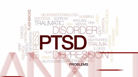 preocupar se : PTSD animated word cloud, text design animation. Kinetic typography.