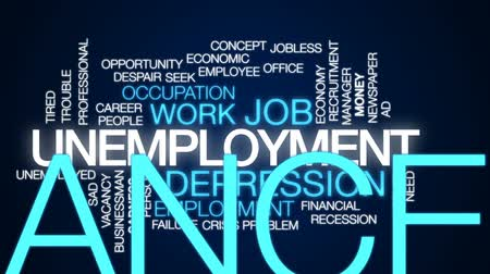 jobless : Unemployment animated word cloud, text design animation.