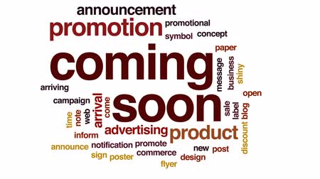 promover : Coming soon animated word cloud, text design animation. Stock Footage