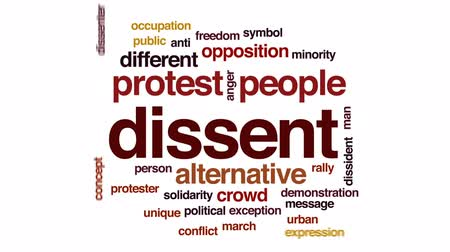 birlik : Dissent animated word cloud, text design animation.