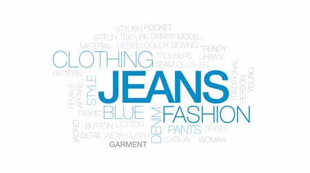 trousers : Jeans animated word cloud, text design animation. Kinetic typography.