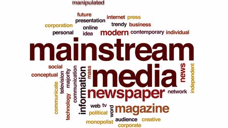 manipulated : Mainstream media animated word cloud, text design animation. Stock Footage