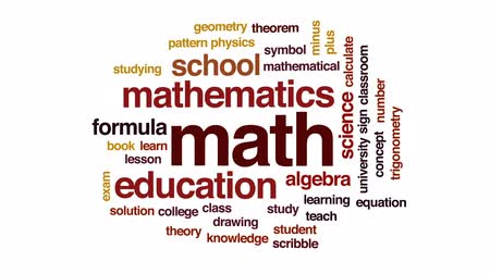 soluções : Math animated word cloud, text design animation.