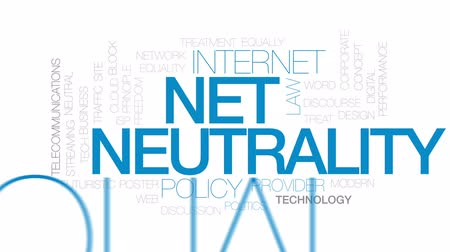 neutrality : Net neutrality animated word cloud, text design animation. Kinetic typography. Stock Footage
