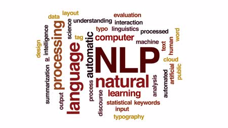 anahtar kelimeler : NLP animated word cloud, text design animation. Stok Video