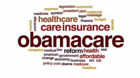 despesas : Obamacare animated word cloud, text design animation. Vídeos