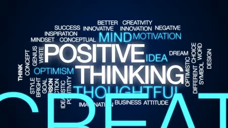 pozitivní : Positive thinking animated word cloud, text design animation.