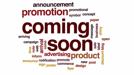 кампания : Coming soon animated word cloud, text design animation. Стоковые видеозаписи