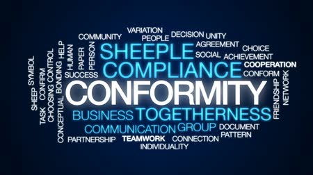 confirmed : Conformity animated word cloud, text design animation.