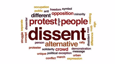 rali : Dissent animated word cloud, text design animation.