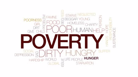 homeless : Poverty animated word cloud, text design animation. Kinetic typography. Stock Footage