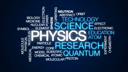 атомный : Physics animated word cloud, text design animation.