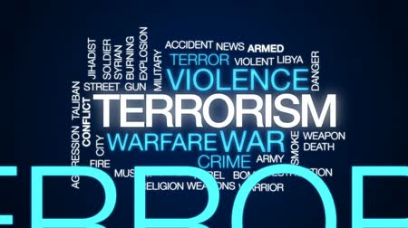libya : Terrorism animated word cloud, text design animation.