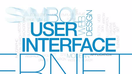 cabeçalho : User interface animated word cloud, text design animation. Kinetic typography.