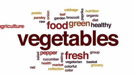 salata : Vegetables animated word cloud, text design animation.