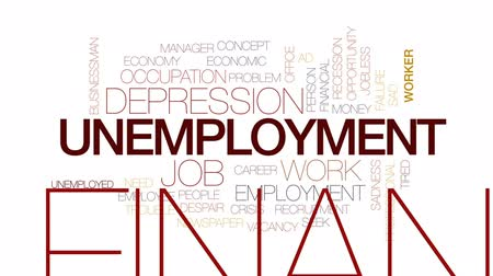 precisão : Unemployment animated word cloud, text design animation. Kinetic typography.