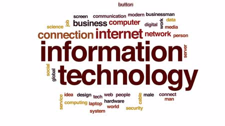 kabel : Information technology animated word cloud, text design animation.