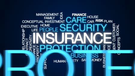 biztosítás : Insurance animated word cloud, text design animation.