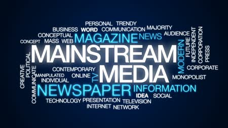 mainstream : Mainstream media animated word cloud, text design animation. Stock Footage