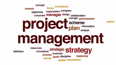 teoria : Project management animated word cloud, text design animation.