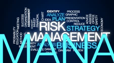 proces : Risk management animated word cloud, text design animation.