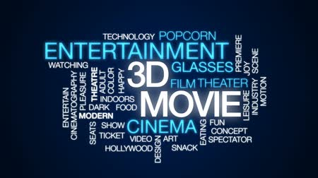tiyatro : 3D movie animated word cloud, text design animation. Stok Video