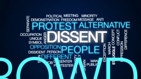 separado : Dissent animated word cloud, text design animation.