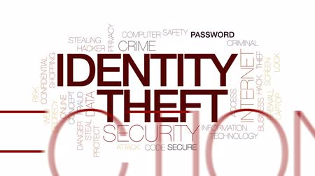 podvod : Identity theft animated word cloud, text design animation. Kinetic typography.