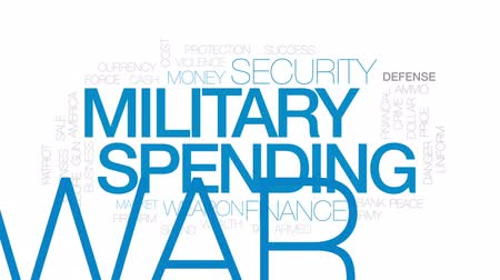 imposto : Military spending animated word cloud, text design animation. Kinetic typography. Stock Footage
