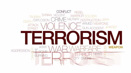terrorismo : Terrorism animated word cloud, text design animation. Kinetic typography.