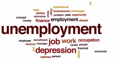 vaga : Unemployment animated word cloud, text design animation.