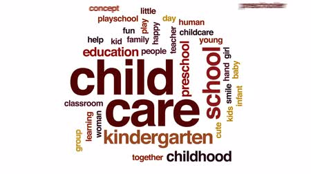 gün : Child care animated word cloud, text design animation.