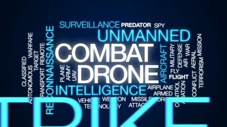 terrorismo : Combat drone animated word cloud, text design animation. Stock Footage