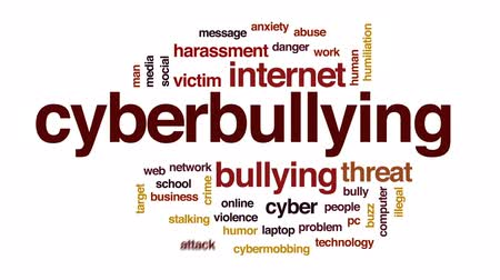 sosyal konular : Cyberbullying animated word cloud, text design animation.
