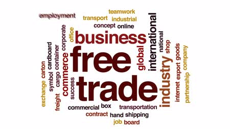 áru : Free trade animated word cloud, text design animation.