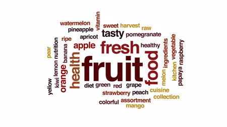 winogrona : Fruit animated word cloud, text design animation. Wideo