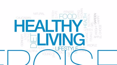 jabłka : Healthy living animated word cloud, text design animation. Kinetic typography. Wideo