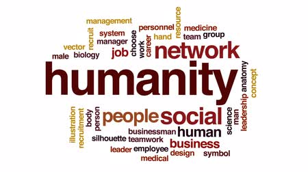 humanidade : Humanity animated word cloud, text design animation. Stock Footage