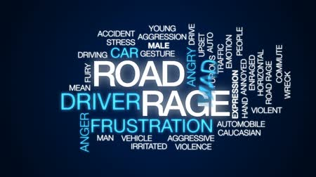 significar : Road rage animated word cloud, text design animation.