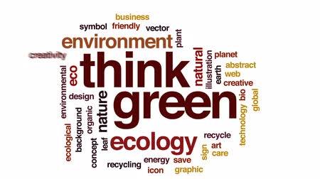 reciclar : Think green animated word cloud, text design animation.