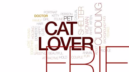 abraços : Cat lover animated word cloud, text design animation. Kinetic typography.