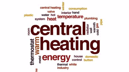 hydraulik : Central heating animated word cloud, text design animation.
