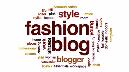 натюрморт : Fashion blog animated word cloud, text design animation. Стоковые видеозаписи
