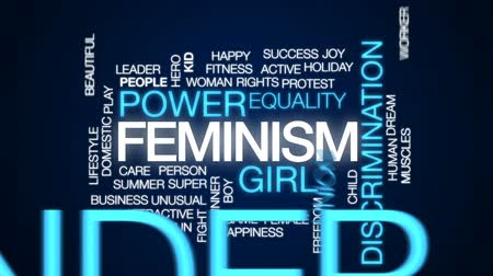 eşitlik : Feminism animated word cloud, text design animation. Stok Video