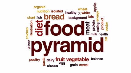 овощи : Food pyramid animated word cloud, text design animation. Стоковые видеозаписи